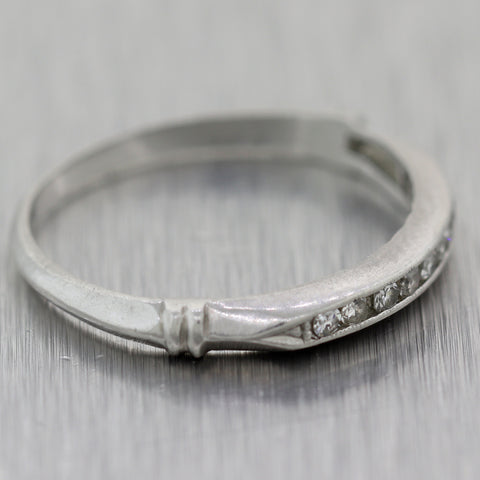 1920's Antique Art Deco Platinum 0.10ctw Diamond Wedding Band Ring