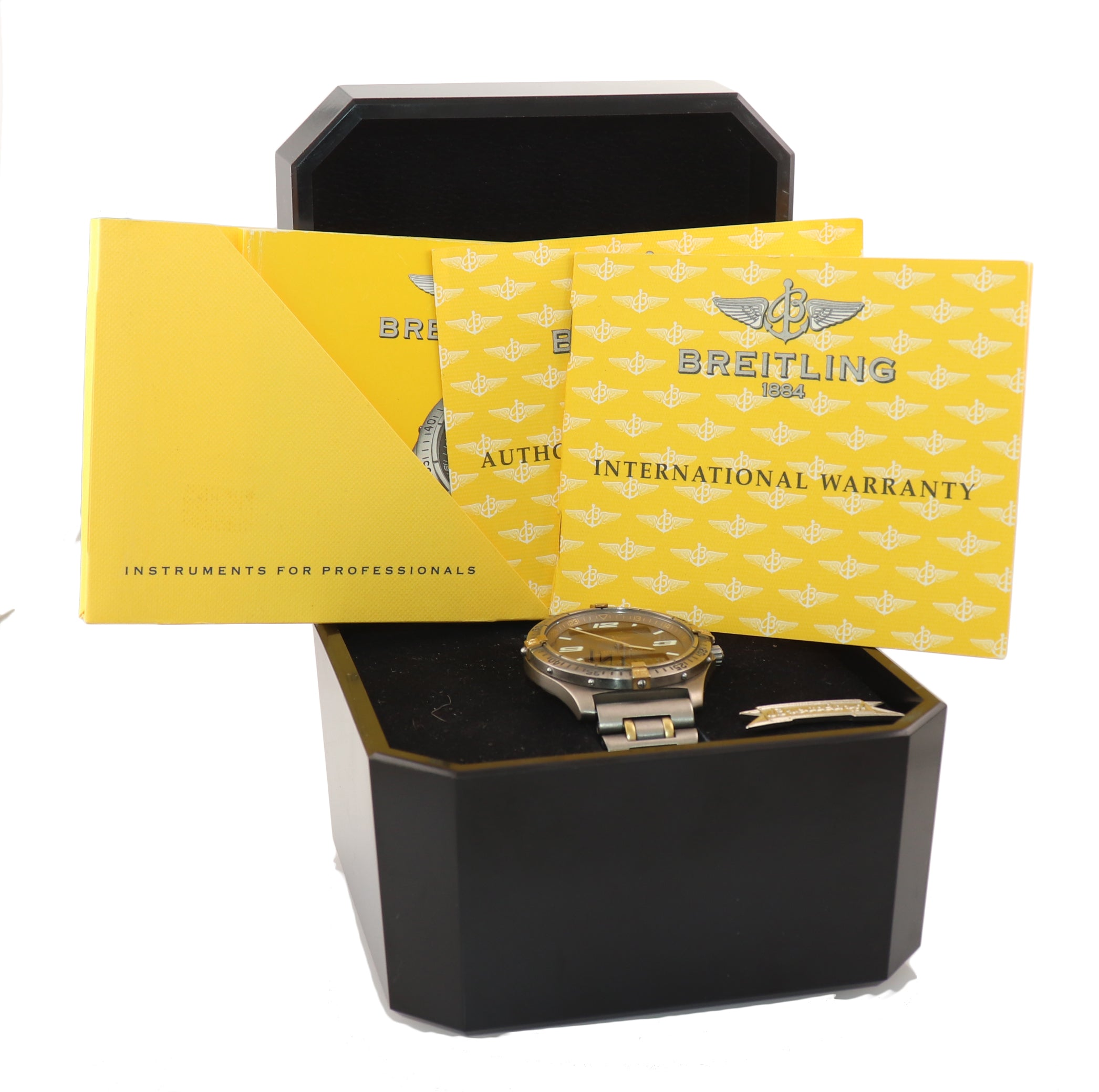 PAPERS Breitling Aerospace Titanium F65362 Grey 40mm Two Tone Gold Watch Box