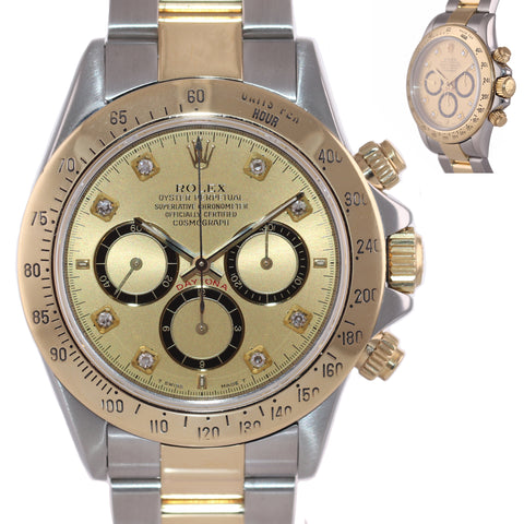 1999 Rolex Daytona Zenith Inverted Diamond Dial 16523 18k Gold Steel SEL Watch