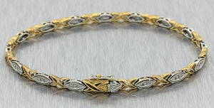 Vintage Estate 14k Solid White Yellow Gold .50ctw Diamond Hugs Kisses Bracelet