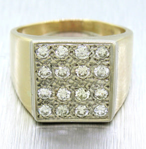 Vintage Estate 14k Solid Yellow Gold 1.60ctw Diamond Chunky Men's Ring