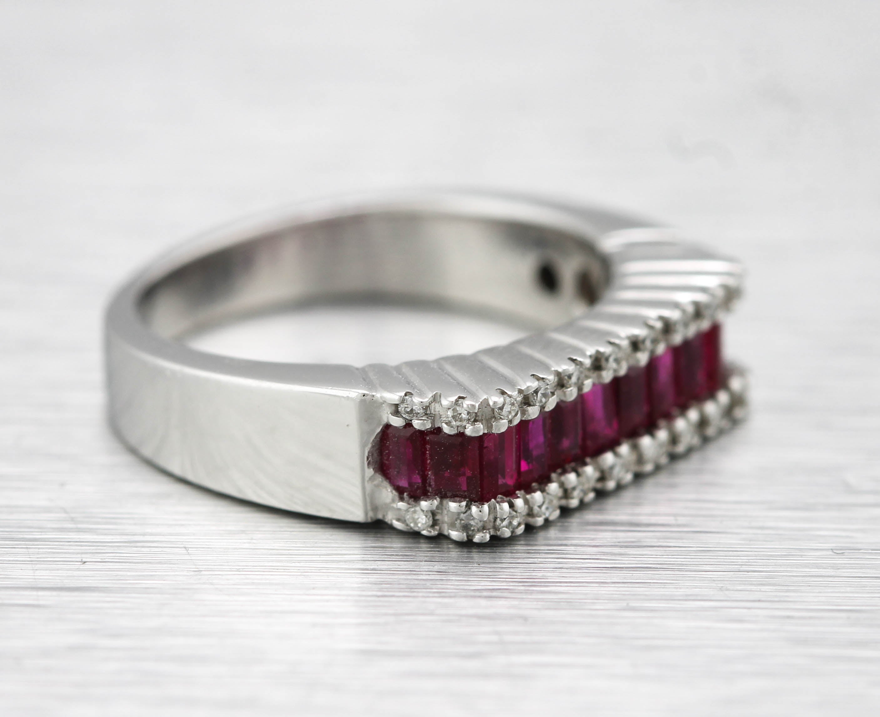 Ladies Modernist 14K White Gold 3x2mm Ruby Baguette Cut Diamond Band Ring