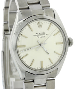 VTG MINT Rolex Oyster Perpetual Air-King Stainless Steel 5500 34mm Watch w Box