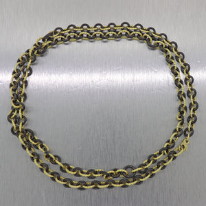 "David Yurman 18k Yellow Gold & Black Cermaic Circle Oval Link Chain 32"" Necklace"