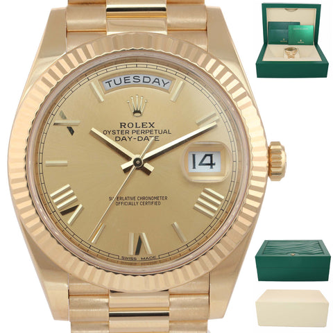 MINT 2018 Rolex Day Date 40 18k Gold President Champagne Roman 228238 Watch B9