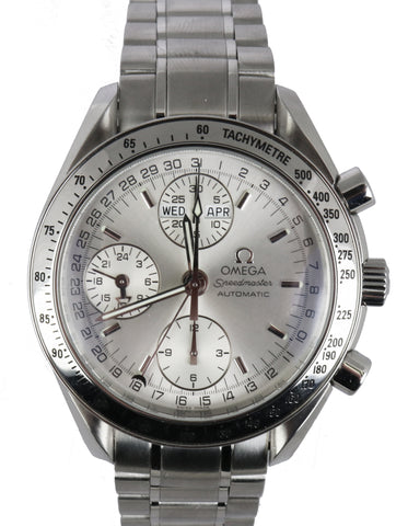 Omega Speedmaster Triple Day Date Silver Chronograph 3523.30 40mm Steel Watch
