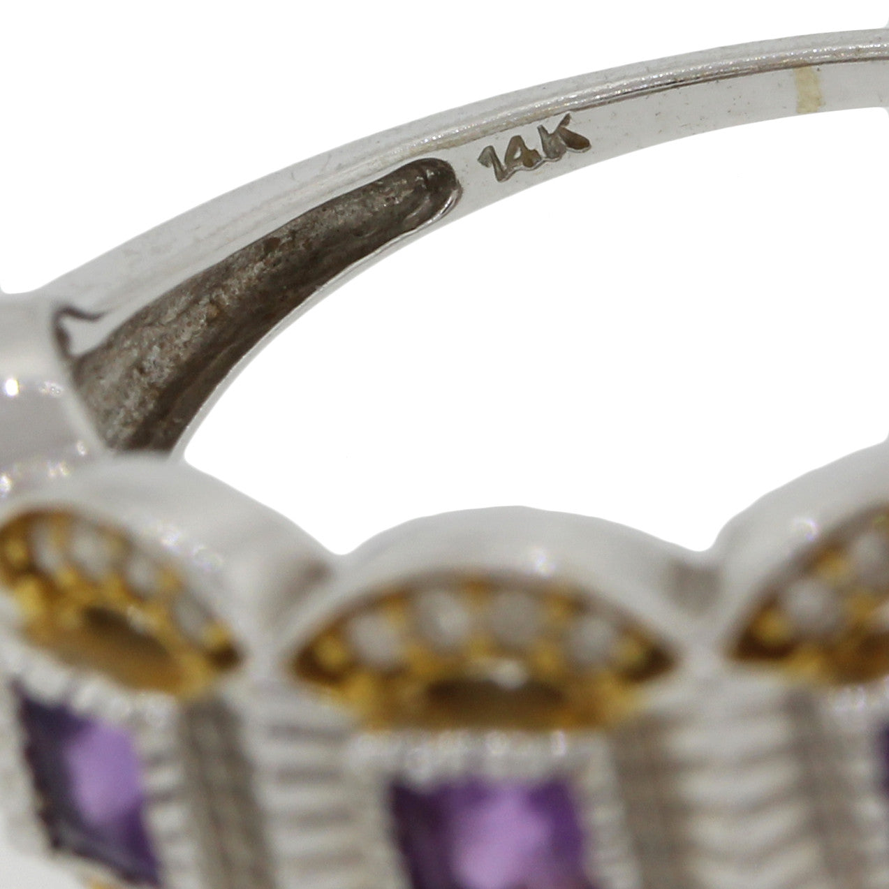 1970s Vintage Art Deco Style 14k Solid White Yellow Gold .32ctw Diamond Amethyst Ring