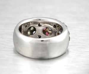Beautiful Ladies 18K 750 White Gold Multi-Colored Gemstone Floral Band Ring
