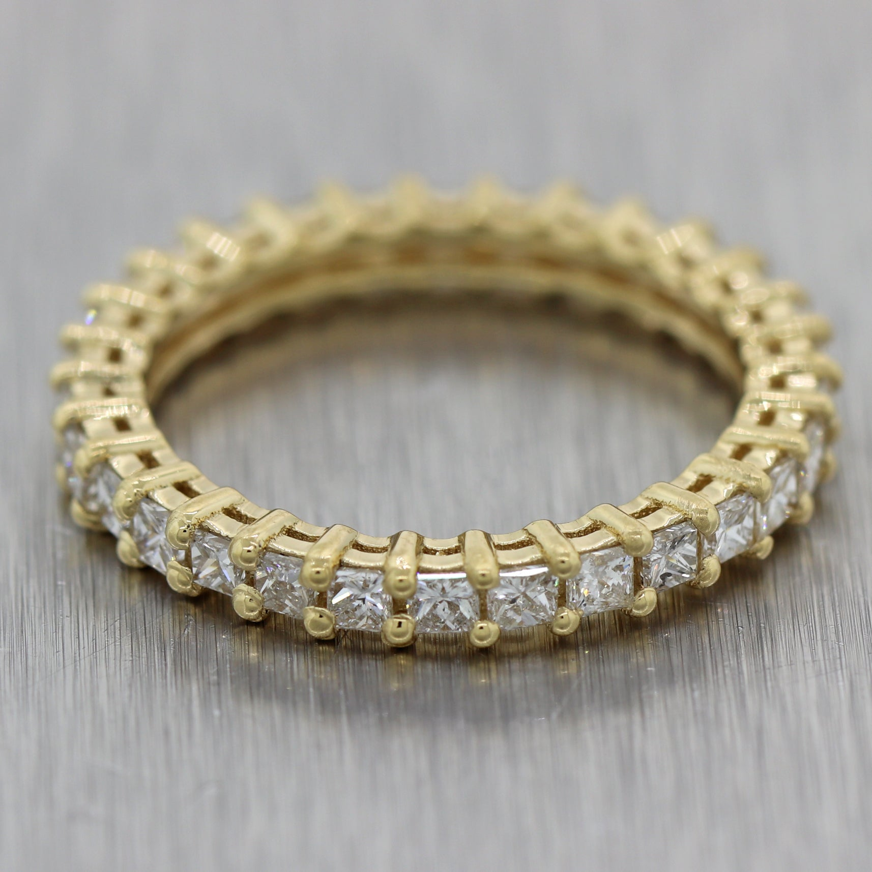 Modern 18k Yellow Gold 1.20ctw Princess Cut Diamond Eternity Band Ring