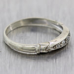 1930's Antique Art Deco 14k White Gold 0.10ctw Diamond Wedding Band Ring
