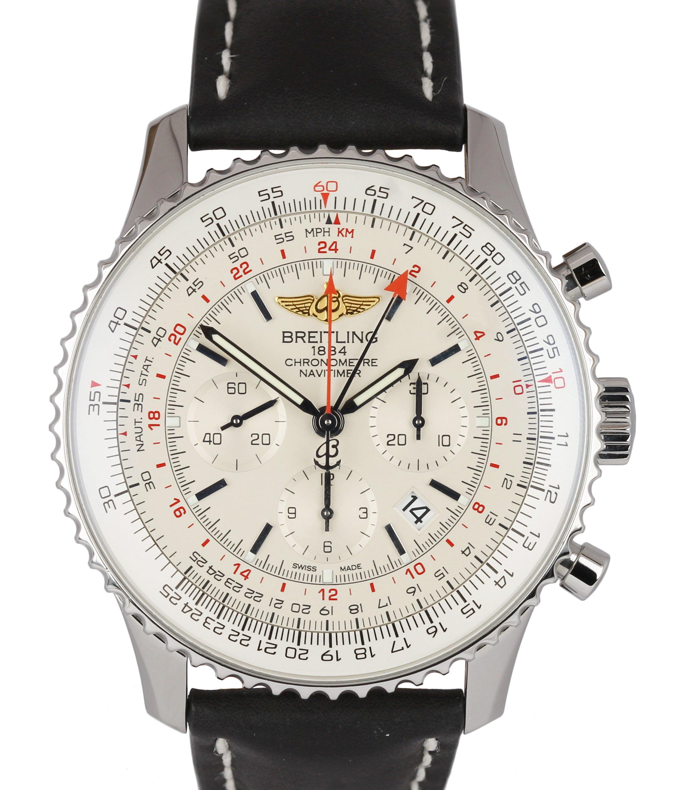 2019 Breitling Navitimer Navi GMT Stainless Cream 48mm AB0441 Chronograph Watch