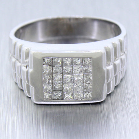 Vintage 14k Solid White Gold Presidential 0.87ctw Square Diamond Mens Pinky Ring
