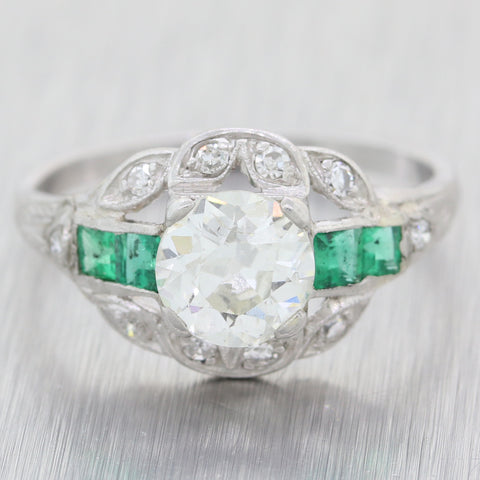 1920s Antique Art Deco Platinum 1.35ctw Diamond Emerald Engagement Ring EGL