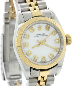 Ladies 2005 Rolex Oyster Perpetual 24mm 76193 Two Tone MOP Diamond Watch w Box