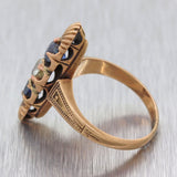 1880s Antique Victorian Estate 14k Rose Gold Diamond Sapphire Ring G8