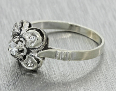1960s Vintage Estate Art Deco Style 14k Solid White Gold .20ctw Diamond Ring