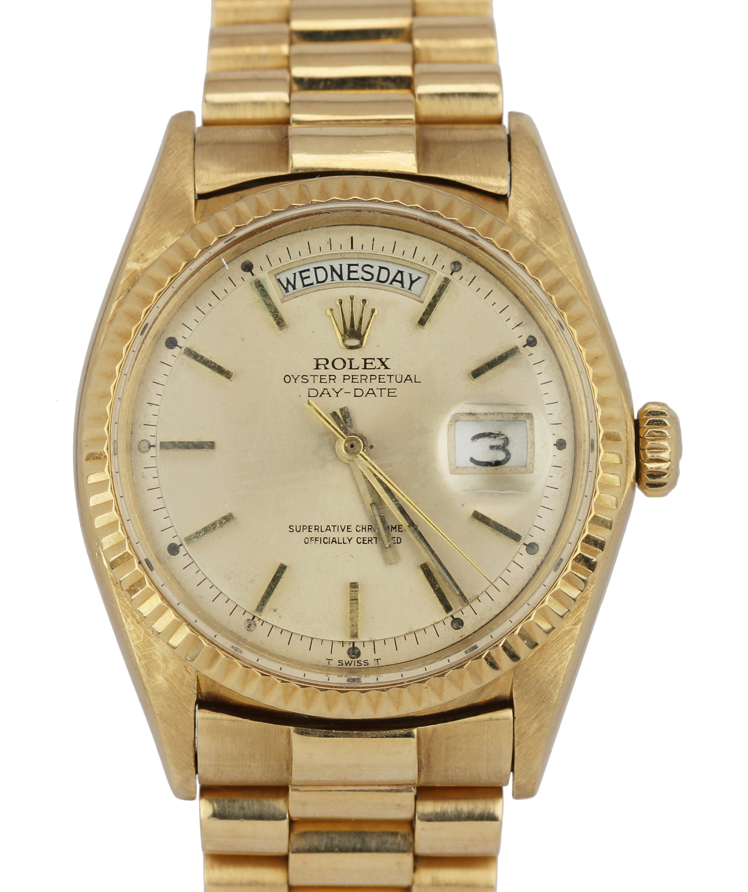 Rolex Day-Date President Pie-Pan Champagne 36mm 18K Yellow Gold Swiss Watch 1803