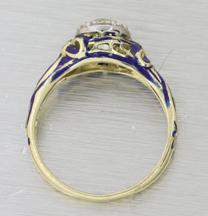 1880s Victorian 14k Yellow Gold 1.11ct Diamond Enamel Engagement Ring EGL T1