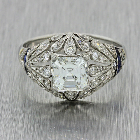 Antique Art Deco Platinum 1.24ct Asscher Diamond Sapphire Engagement Ring GIA