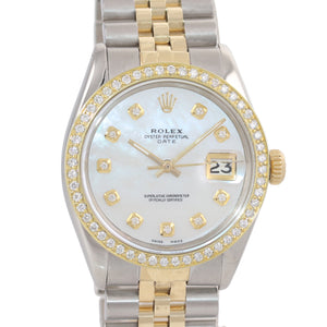 Rolex Date 15000 MOP Diamond two tone Gold Bezel 34mm Jubilee Watch