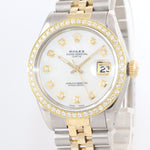 2019 SERVICE Rolex Date 15000 MOP Diamond two tone Gold Bezel 34mm Jubilee