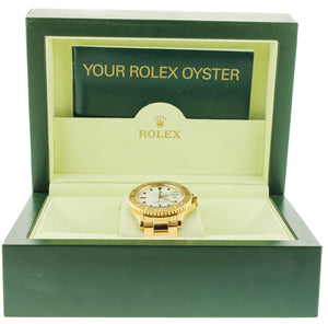 MINT Rolex Yacht-Master White 16628 18K Yellow Gold 40mm Oyster Date Watch
