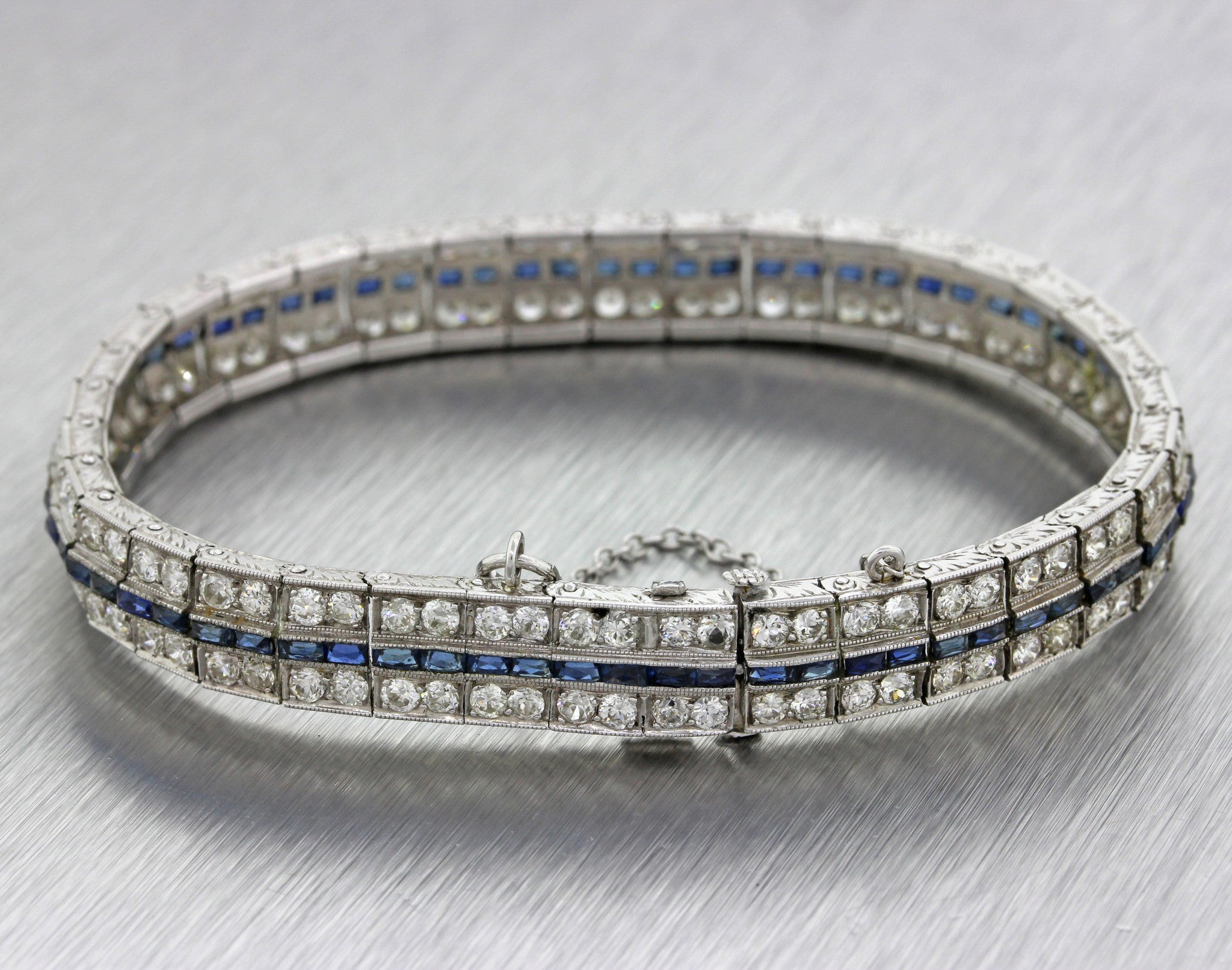 1930s Antique Art Deco Solid Platinum 5.76ctw Diamond Sapphire Tennis Bracelet