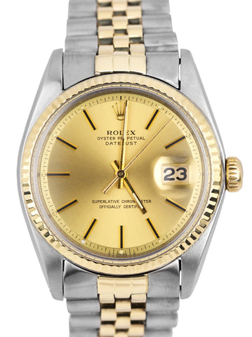 1977 Rolex DateJust SIGMA DIAL 36mm 1603 Two-Tone Gold Champagne Jubilee Watch