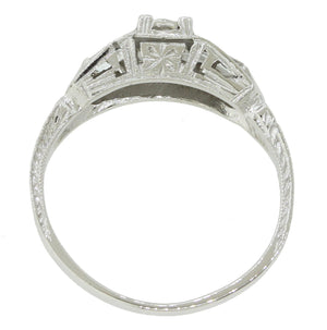 1920s Antique Art Deco Estate 18k Solid White Gold Diamond Engagement Ring
