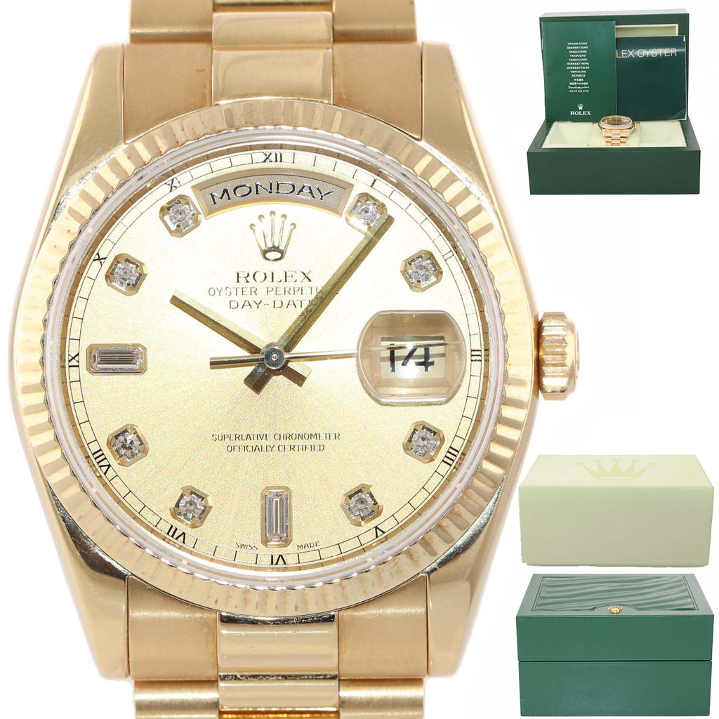 2007 FACTORY DIAMOND Rolex Day-Date President 18K Gold Champagne 118238 Watch