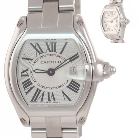 Ladies Cartier Roadster Date Steel Silver Quartz Roman Swiss Watch 2675 A9
