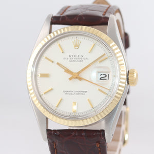 2019 SERVICE Rolex DateJust 1601 Yellow Gold Bezel Steel Pie Pan 36mm Watch
