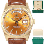 2018 Rolex Day-Date President 36mm 118138 18K Yellow Gold Brown Strap Watch