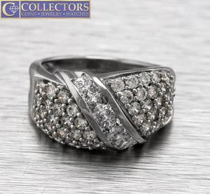 Lovely Ladies Modern 14K White Gold 2.38ctw Cubic Zirconia Cluster Cocktail Ring