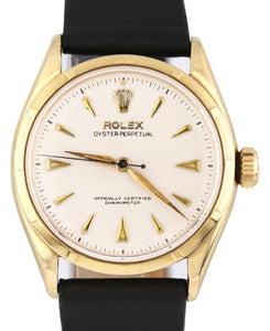 Vintage 1963 Rolex Oyster Perpetual 34mm Honeycomb 14K Yellow Gold 6285 Watch