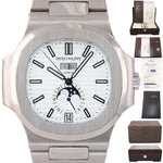 PAPERS NAUTILUS Patek Philippe White 5726 Annual Calendar 40.5mm Steel Watch