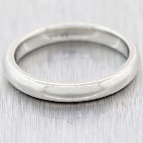 Antique Vintage Estate 3mm Platinum Thin Stackable Wedding Band Ring 5.25 C9