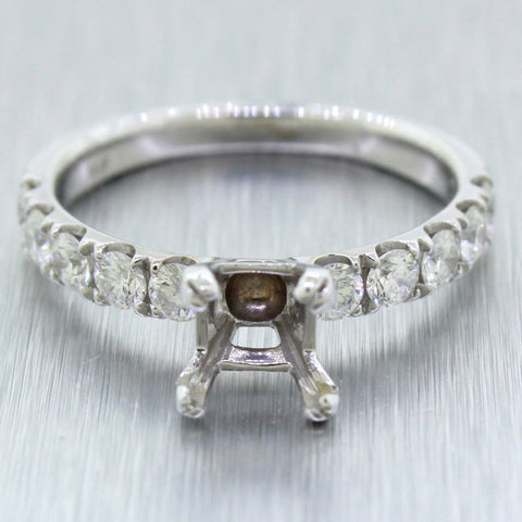Modern 18k Solid White Gold 1.00ctw Diamond Accent 1.50ct Ring Setting