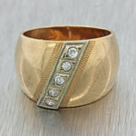 1930s Antique Russian 14k Solid Yellow Gold .20ctw Diamond Wide Band Ring