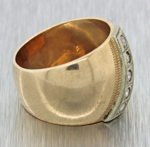 1930s Antique Russian 14k Solid Rose Gold .20ctw Diamond Wide Band Ring