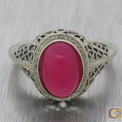 1930s Antique Art Deco Estate 20k White Gold Pink Glass Cocktail Ring A8