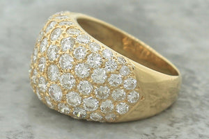 $6440 Vintage Ladies 14K Yellow Gold 4.15ctw Cluster Diamond Band Dome Ring EGL
