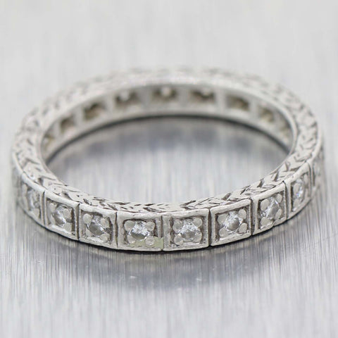 1930's Antique Art Deco 2mm Platinum Engraved .42ctw Diamond Maternity Wedding Band Ring 4.5 C9