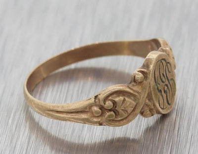 1880s Antique Victorian Estate 10k Rose Gold Signet Baby Band Ring A8