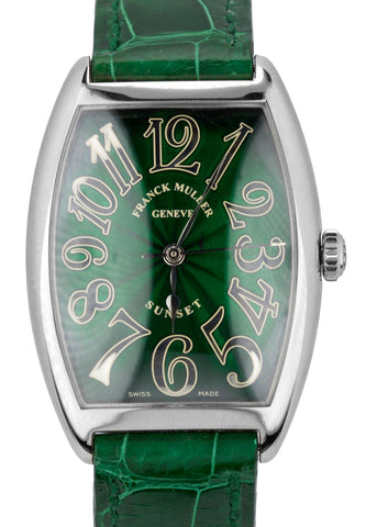Franck Muller Cintree Curvex Sunset 30x38mm Green 18K White Gold Watch 2852SC