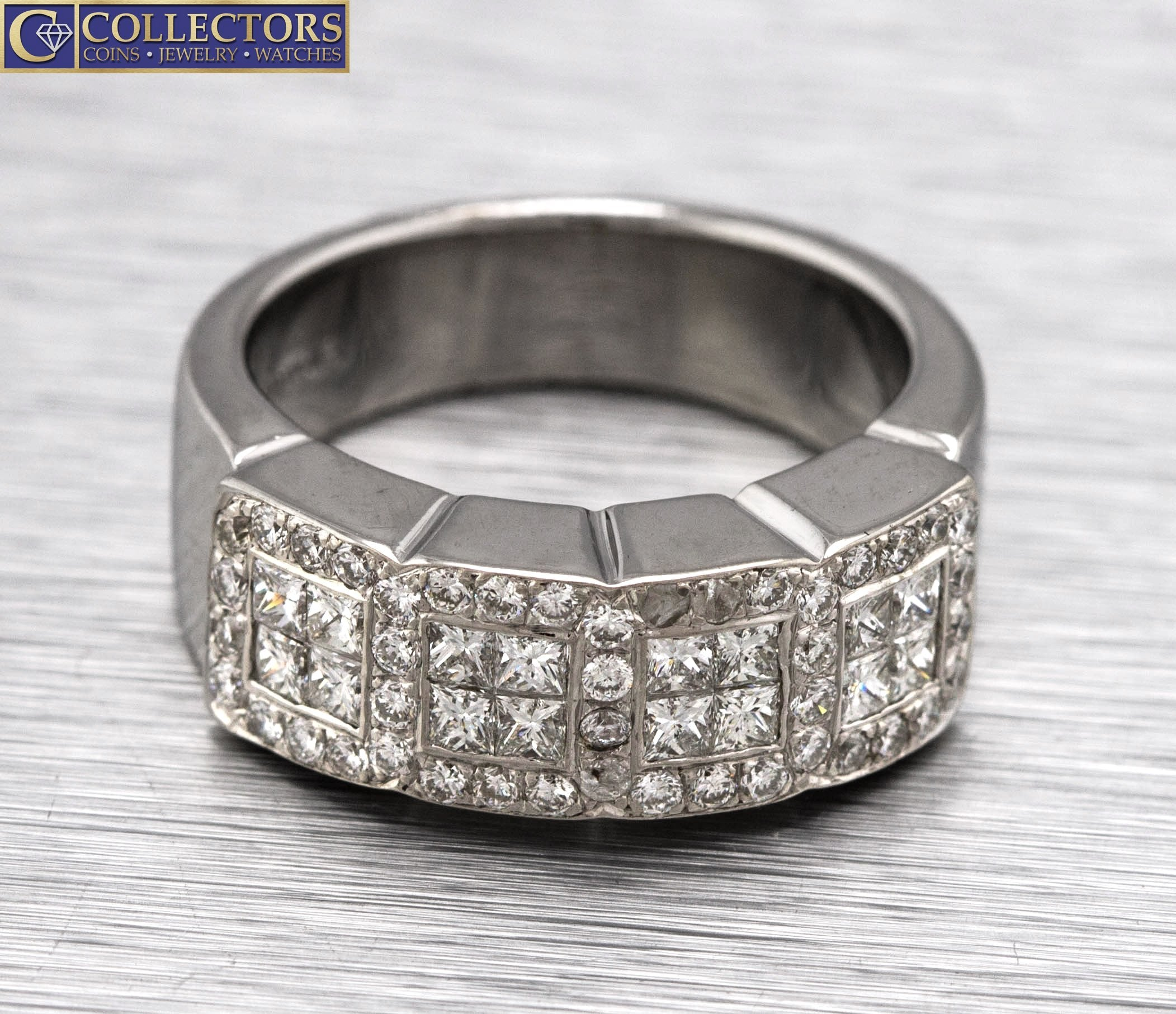 Lovely Ladies 18K 750 White Gold 1.24ctw Diamond Princess Cut Cocktail Ring