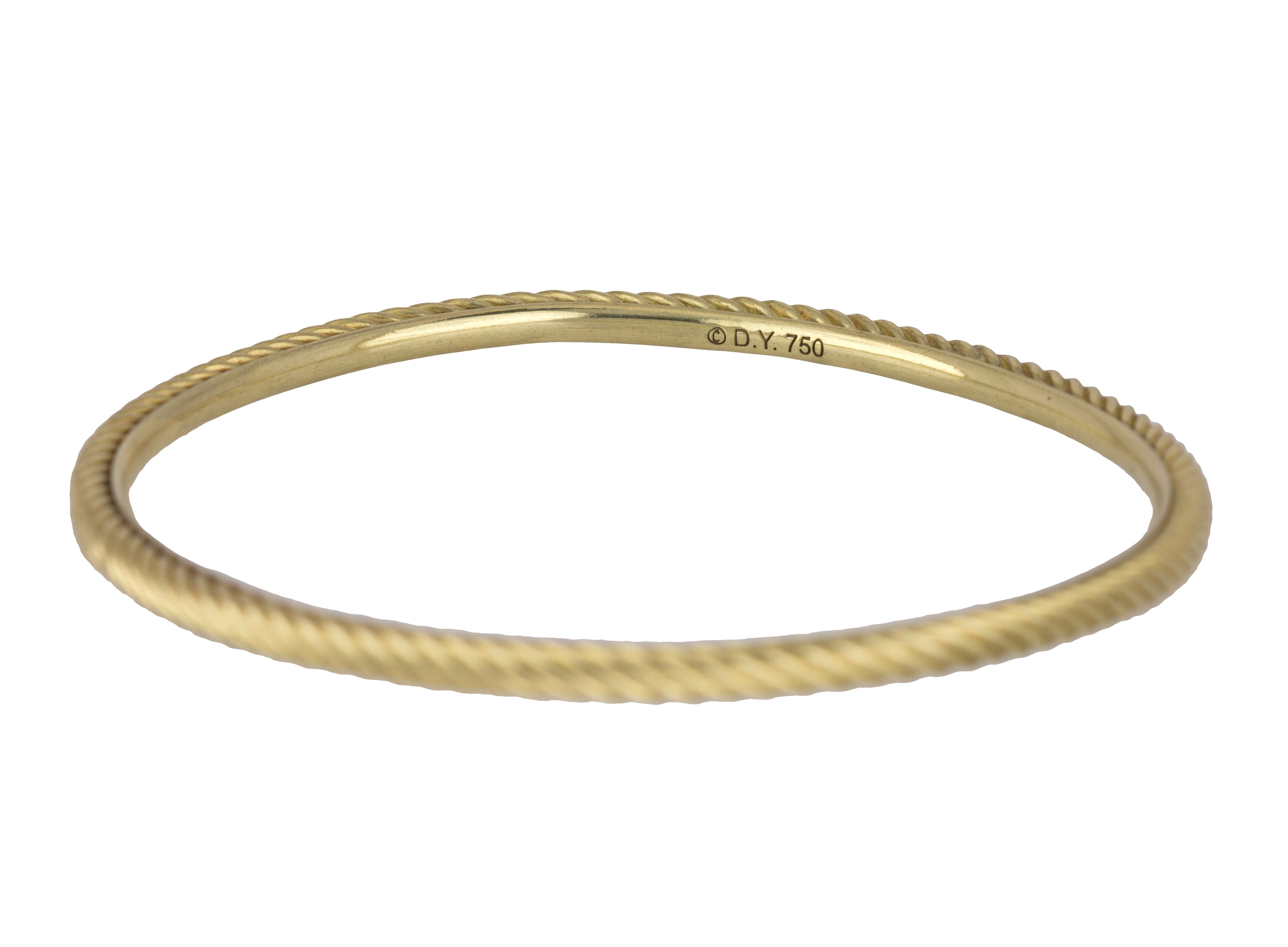 Authentic David Yurman 18K 750 Yellow Gold Cable Classic 3mm Bangle Bracelet