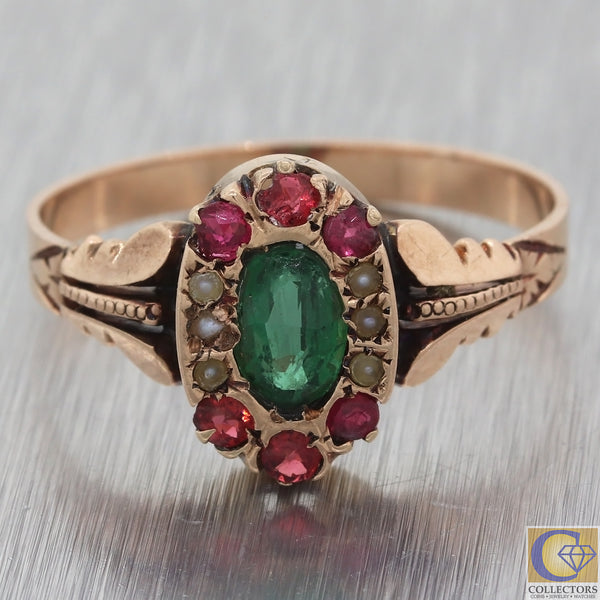1880s Antique Victorian 14k Rose Gold Garnet Sync. Emerald Seed Pearl Ring M8