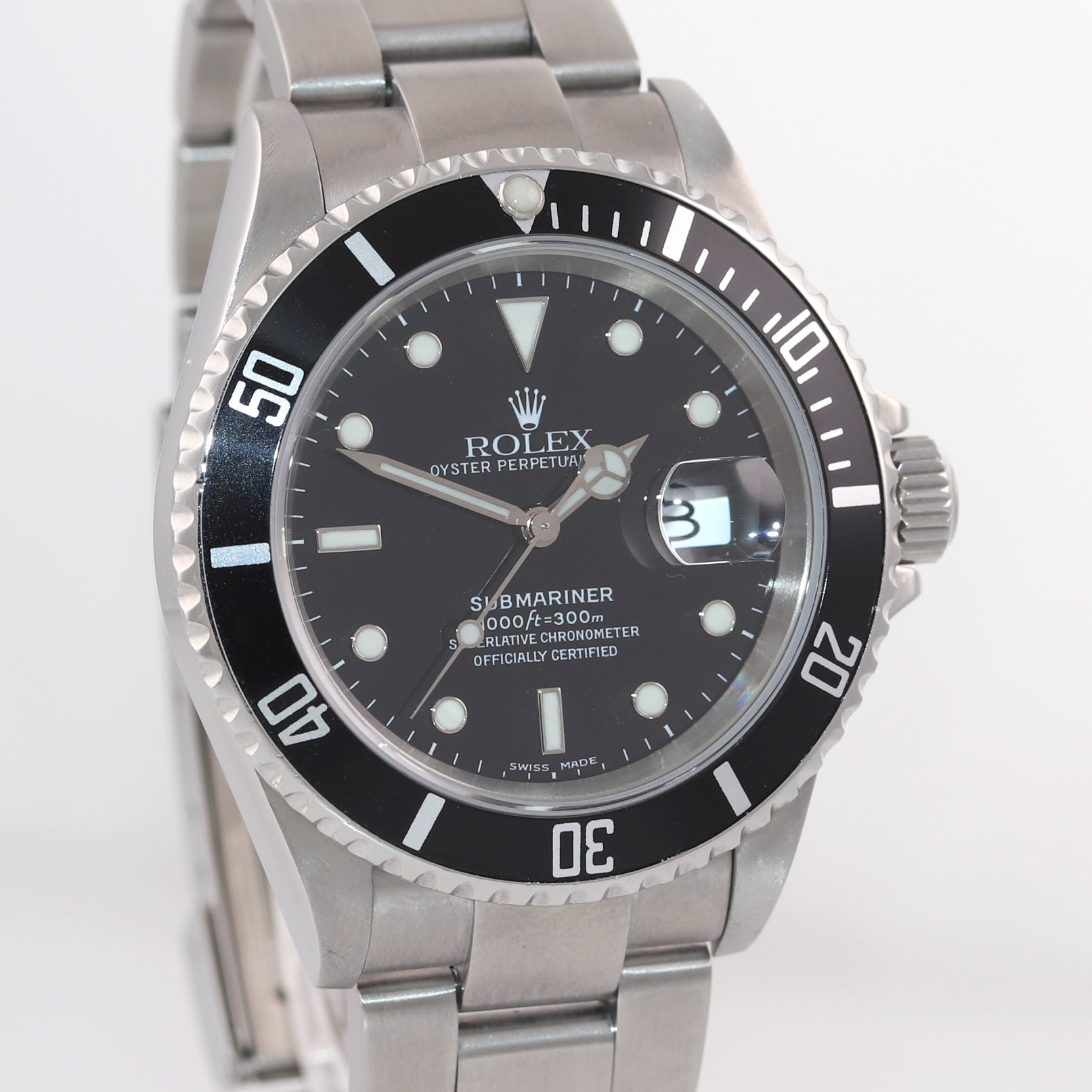 MINT 2005 Rolex Submariner Date 16610 Steel NO HOLES Pre-Ceramic Watch Box