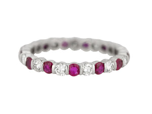 Women's Modern Platinum 0.60ctw Diamond & Ruby Eternity Stackable Band Ring
